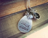 personalized hand stamped mommy necklace - blossom mothers necklace - oxidized sterling silver.