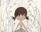 inspirational mixed-media painting, girl print. let love surround you. folk art print.
