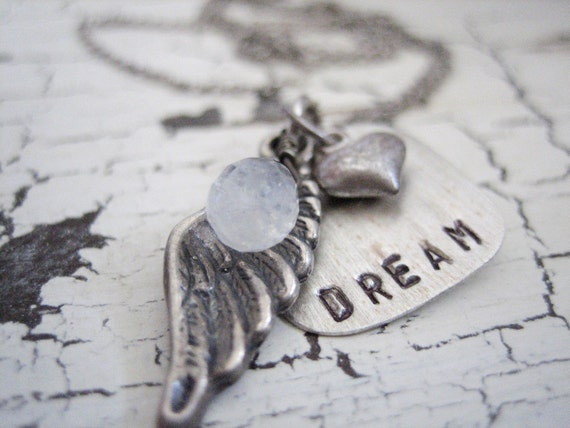 hand stamped necklace, hand stamped jewelry, dream necklace.