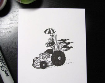Custom mini drawing, made to order. Postcard size or smaller.