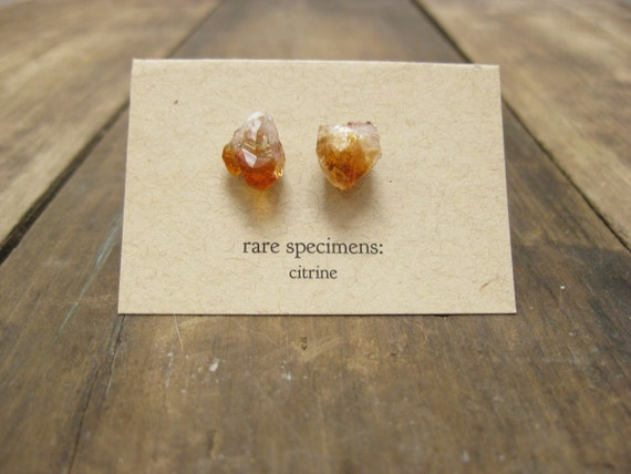 Citrine Crystal Point Stud Earrings