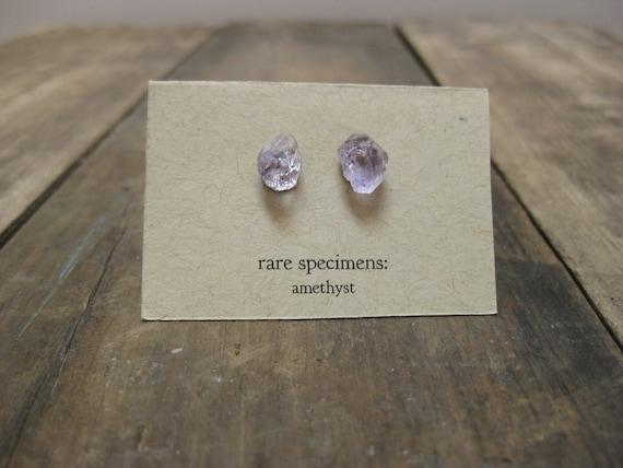 Amethyst Crystal Point Stud Earrings