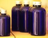4oz Cobalt Boston Round Bottles with Silver caps