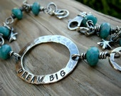 Inspirational Bracelet  Blue Glass Hand Stamped Sterling Silver Dream Big