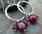 Ruby Hoop Earrings Fine Silver Gemstone Stone Hoops