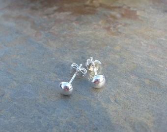 Silver Ball Stud Post Earrings 999 Fine Silver Small