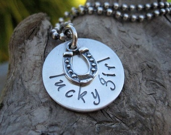Lucky Girl Horseshoe Charm Necklace Sterling Silver Hand Stamped