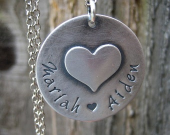 Personalized Necklace Mothers Jewelry Heart Charm Hand Stamped Sterling Silver