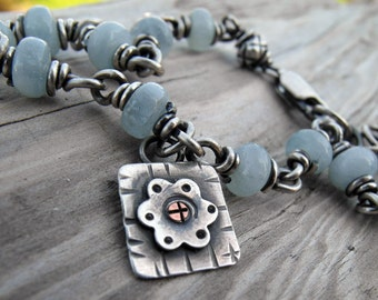 Aquamarine Gemstone Bracelet Handmade Silver Flower Bracelet Blue