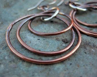 Autumn Handmade Pure Copper n Sterling Silver Hoop Earrings