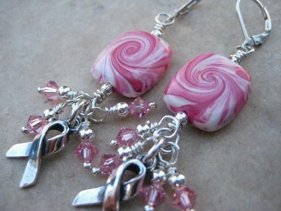On Sale Pink Ribbon Swirl Bead Earrings Sterling Silver