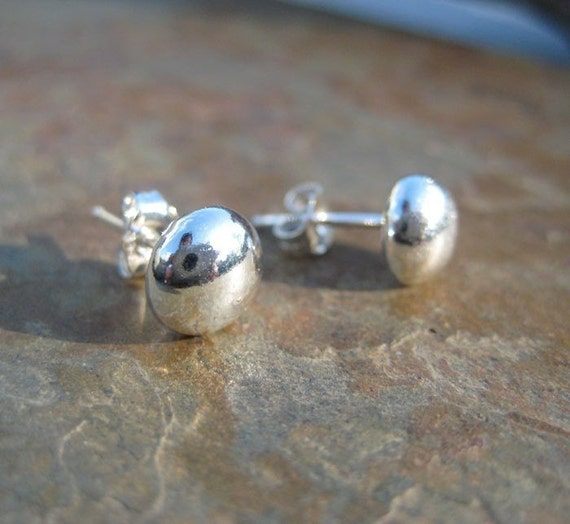 Fine Silver Ball Post Stud Earrings Ready to ship Handmade