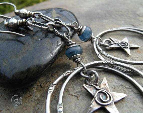Silver Star Hoop Earrings Blue Kyanite Gemstone Jewelry