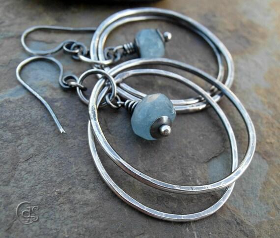 Blue Aquamarine Earrings Sterling Silver Gemstone Hoops