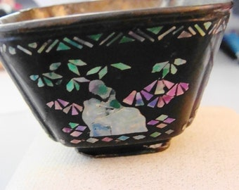 Collectible Black Lacquer and Mother of Pearl Sake Cup
