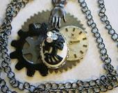 Steampunk Skull Gears Necklace