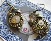 RESERVED Steampunk Alarm Clock Earrings
