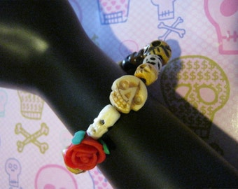 Day of the Dead Skull Rosary Bracelet