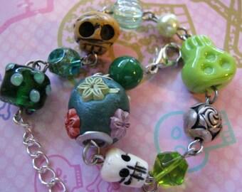 Green Skull Charm Bracelet