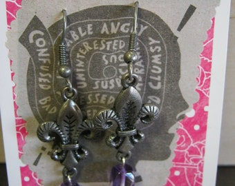 Fleur De Lis Steampunk Earrings With Purple Gemstone