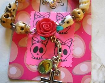 Skull And Rose Rosary Charm Bracelet