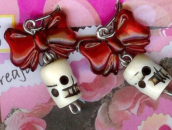 Vintage Gothic Red Bow Delicate Skull Earrings