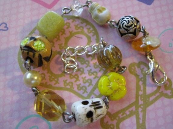 Yellow Skull Bracelet, skull jewelry