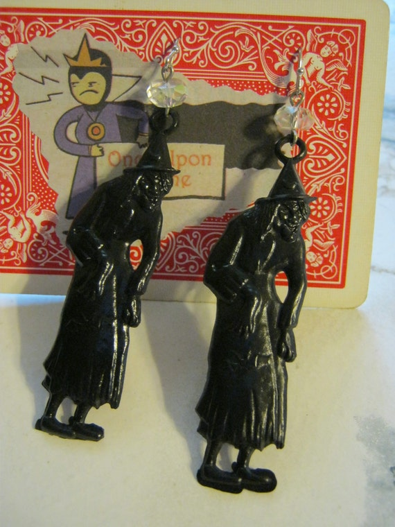 RESERVED FOR TOCSIN Black Witch Earrings With Crystals