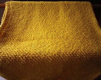Made to Order Mustard Yellow 100% Cotton Knitted Baby Blanket