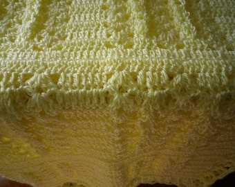 Soft Yellow Crocheted Baby Afghan