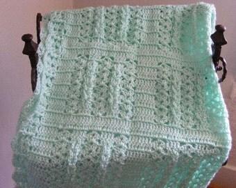 Mint Green Hand Crocheted Baby Blanket