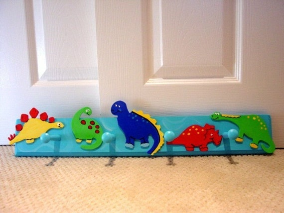 Cool dinosaur peg wall hooks nursery decor kids room custom for Kids room hooks