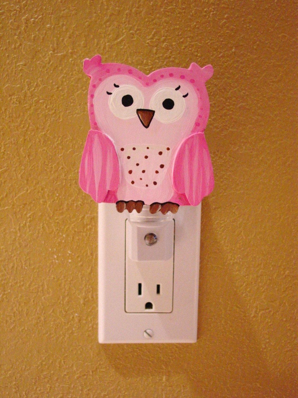 Pink Brooke Owl Night Light Custom Painted Owl Nursery Kids