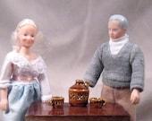 Miniature Moonshine Jug and Matching Miniature Mugs, Grandma and Grandpa Doll, Adult Mature, Triple x, Moonshine, Anniversary, Ready to Ship
