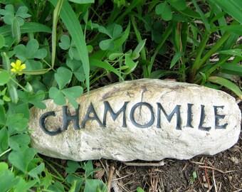 Chamomile Garden Herb Marker, Handmade Stoneware Plant Identification Label, Plant marker Identification Stake, Garden Marker, Ready to ship
