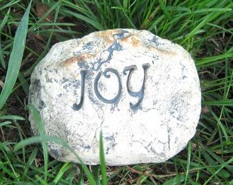 Joy Garden Decoration, Handmade Stoneware Rock, Natural Decor, Indoors or Outdoors, Garden art, Inspirational Motivational, Ready to Ship