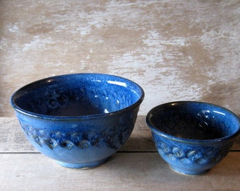 Two Small Nesting Bowls in Blues, Discounted Second, Serving Bowls, Dip Salsa Dishes, Bright Blue Pair of Bowls, Handmade, Ready to Ship