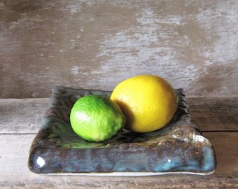 Unique Serving Dish, Stoneware Pillow Plate or Bowl with Texture in Earth Blue, Fruit or Bread Server, Banana Dish, Handmade Ready to Ship