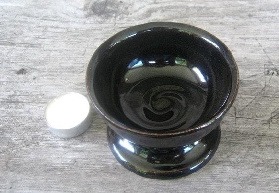 Small Scrying Bowl, Black Altar Vessel, Handmade Stoneware Ritual Tool, Pagan Altar Bowl, Ready to Ship