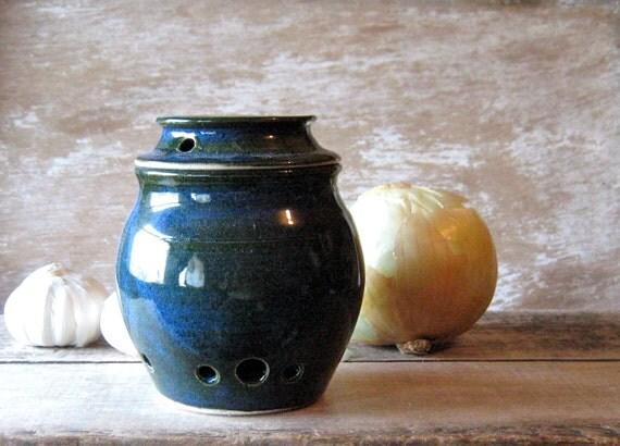Onion or Garlic Keeper Deep Blue Green
