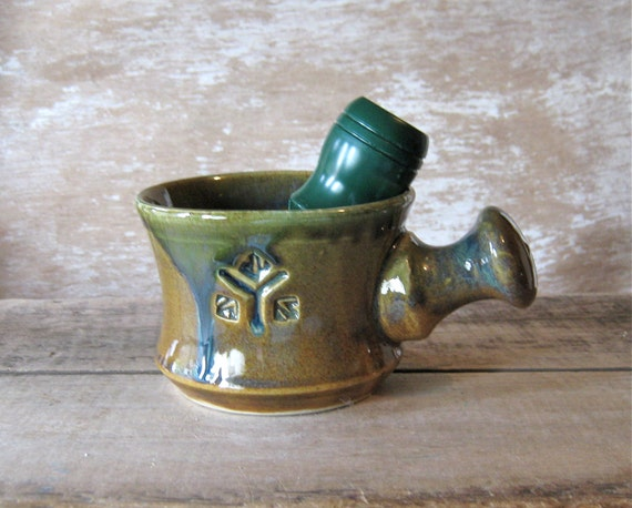 Apothecary Style Shaving Mug In Woodland Green and Ash