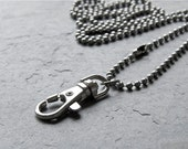 simple ID lanyard neck chain - SMALL silver ball chain - stainless steel