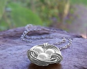 Sacred Bird Nest Necklace, Silver with Swarovski Pearls