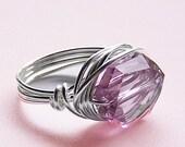 Light Amethyst Swaovski Crystal Ring