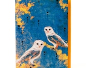 Owls Card,  Glitter Greeting Card, Indigo, Golden,