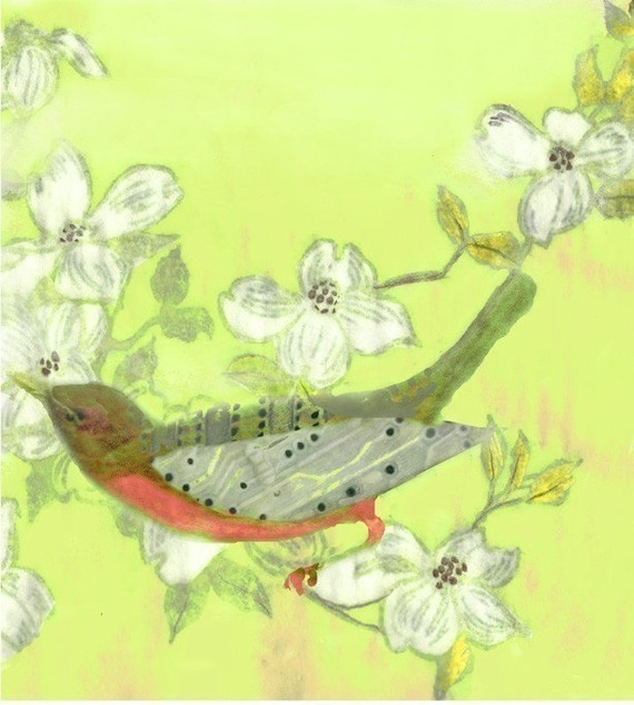Chip Bird in the Yellow Dogwood Blossoms