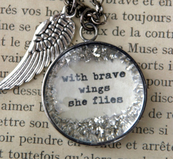 With Brave Wings She FLies Charm Necklace