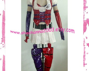 Harley Quinn Arkham Asylum Costume Cosplay Halloween Made to Order XS-S-M-L-XL