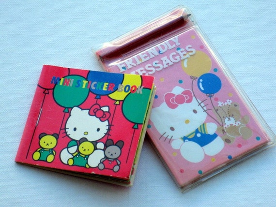 Vintage Hello Kitty Sanrio Mini Message Set and Mini Sticker Book Circa 1980s