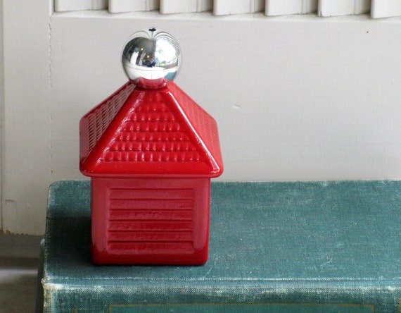 Vintage Avon Little Red House Glass Perfume Bottle